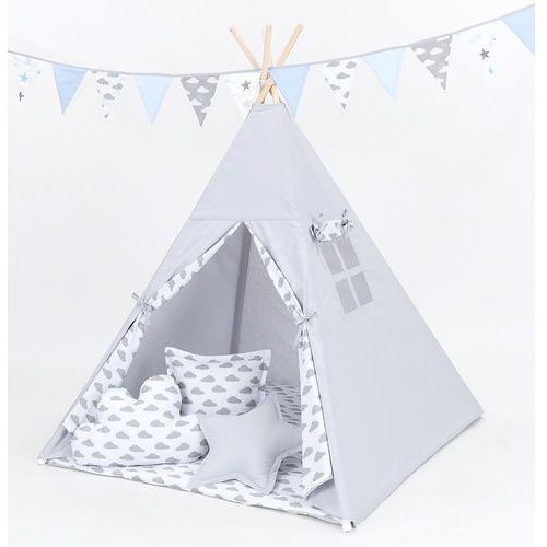 Mamo-tato namiot tipi z matą popiel / chmurki szare na bieli