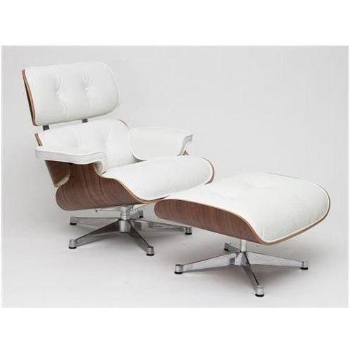 Fotel vip z podnóżkiem biały/walnut/srebrna baza marki D2design