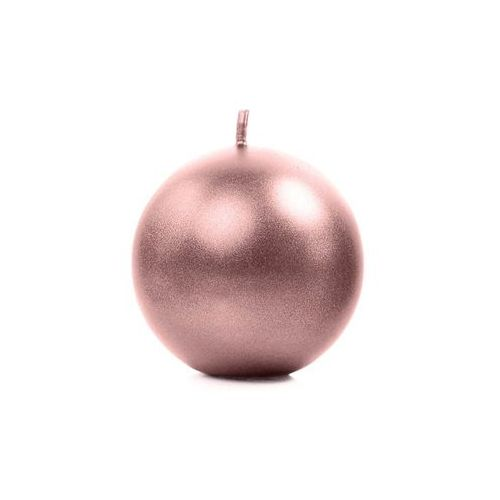 Party deco Świeca kula metaliczna, złoty róż - 8 cm - 1 szt. (5900779107526)