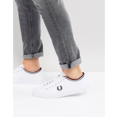 Fred Perry Kendrick Canvas Plimsolls In White - White, kolor biały