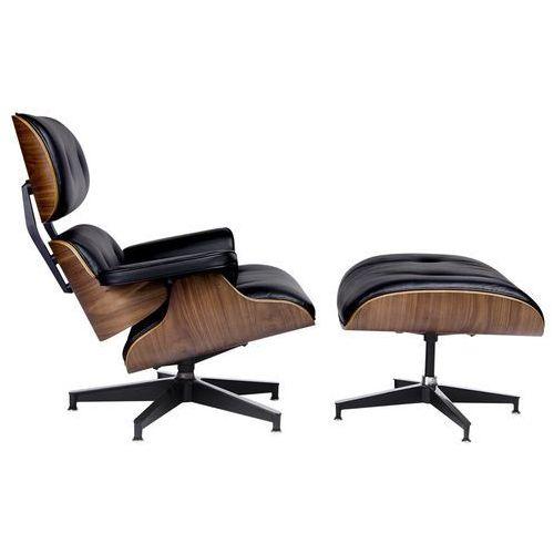 King home Fotel relaksacyjny lounge hm premium szeroki z podnóżkiem czarny - sklejka orzech, skóra naturalna (5900168803039)