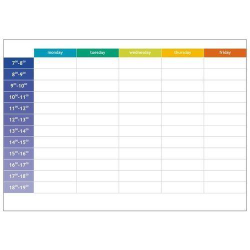 magnetyczna tablica suchościeralna lean 057 planer tygodniowy angielski z godzinami