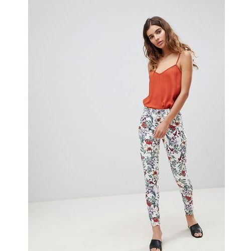 Brave Soul Karlie Floral Print Trousers - Cream, kolor beżowy