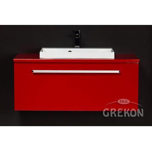 Czerwona szafka wisząca z umywalką 100/39 FKS seria Fokus CZ, kolor czerwony