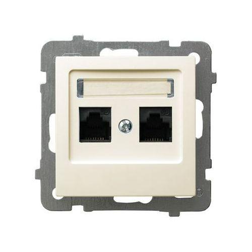 OSPEL AS GPK-2G/K/M/27 Gniazdo komputerowe, podwójne, kat. 5e ECRU, 5907577452582