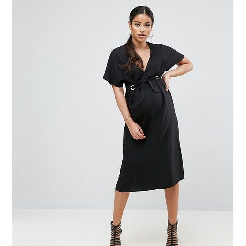 plunge neck midi column dress with eyelet detail and tie - black, Asos maternity
