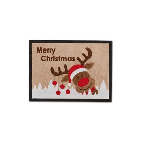 """Bonprix Wycieraczka """"merry christmas"""" brązowy"""