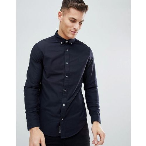 slim fit button down collar oxford shirt with tonal logo in navy - navy, Original penguin, S-XL