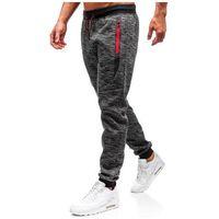 Spodnie męskie dresowe joggery grafitowe Denley 55051, kolor niebieski