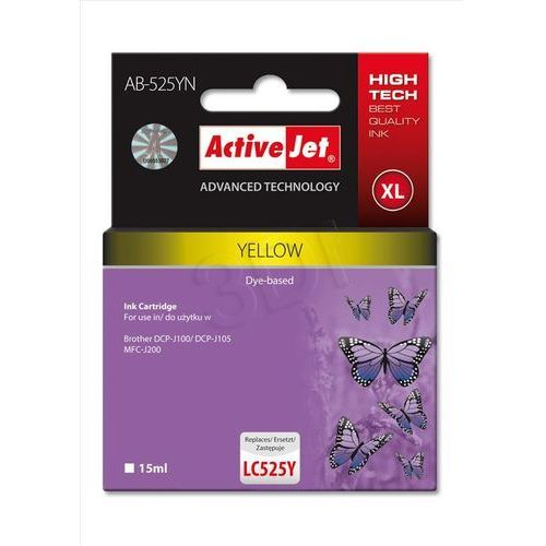 Activejet Tusz ab-525yn yellow do drukarki brother - zamiennik brother lc525y (5901443097198)