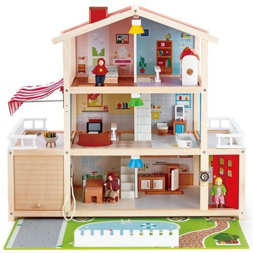 Hape duży domek z garażem (6943478018402)