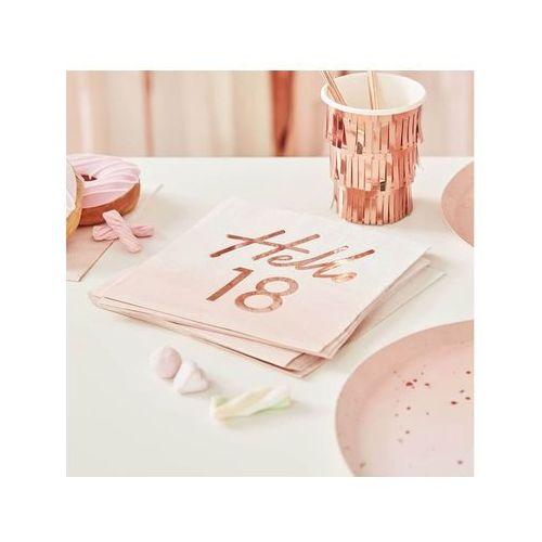 Serwetki różowe ombre na osiemnaste urodziny - 33 cm - 16 szt. marki Ginger ray