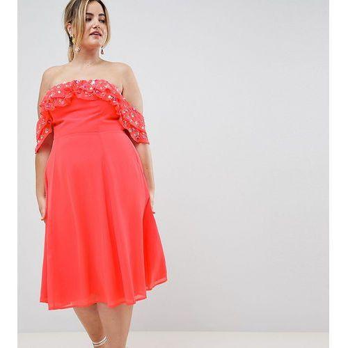 Asos design curve bardot midi dress with embellished frill top - pink marki Asos curve