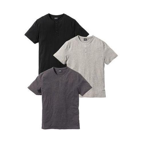 T-shirt (3 szt.) Regular Fit bonprix jasnoszary melanż + antracytowy melanż + czarny, kolor wielokolorowy
