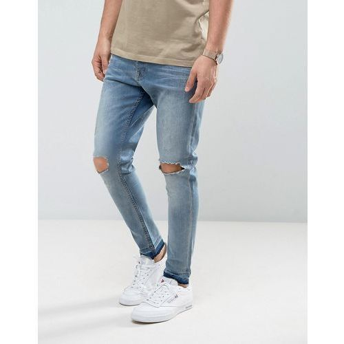 skinny carrot fit distressed jeans - blue, Brave soul