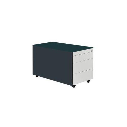 Kontener szufladowy na rolkach,wys. x głęb. 520 x 800 mm, płyta stalowa, 3 szuflady