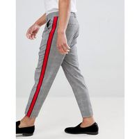 check trousers in grey with side stripe - grey marki Bershka