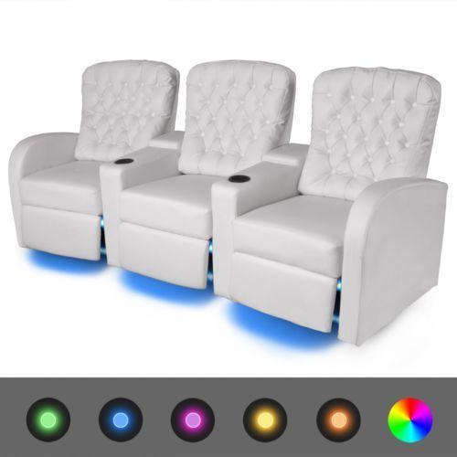 vidaXL Fotele kinowe 3 osobowe, biała, sztuczna skóra, z podświetleniem LED (8718476017317)