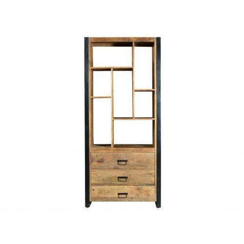 Biblioteczka HARLEM – 3 szuflady i 7 wnęk – Lite drewno mango i metal