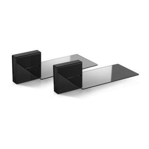 MELICONI Zestaw 2 maskownic do kabli + 2 szklane półki Ghost Cubes Soundbar czarny