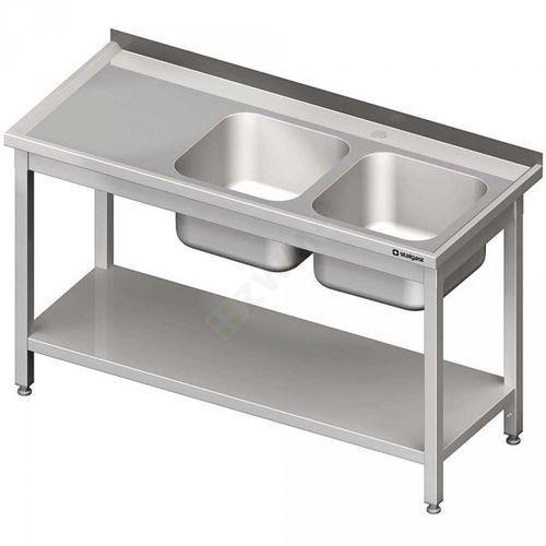 Stalgast Stół ze zlewem 2-kom.(p),z półką 1600x600x850 mm skręcany
