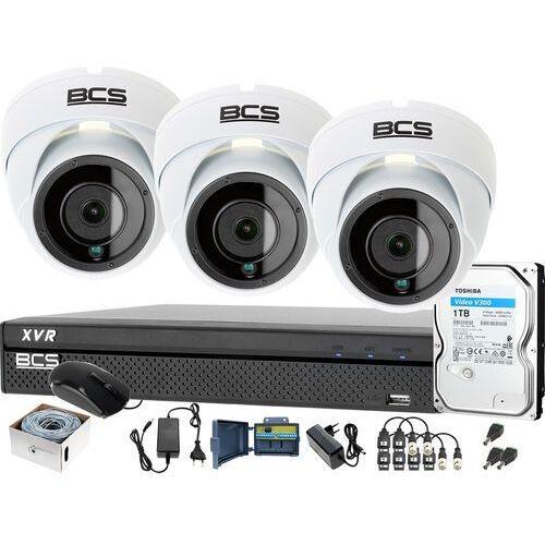 3x BCS-DMQ2203IR3-B BCS-XVR0401-IV Zestaw monitoringu kamery rejestrator akcesoria, ZM13963