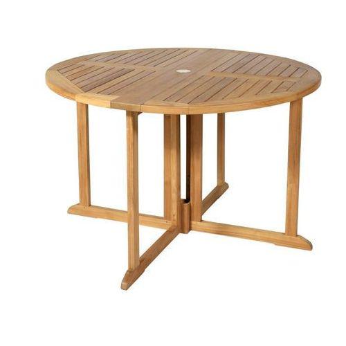 Ogrodowy stół jadalniany byblos, składany – drewno tekowe – śr. 120 cm marki Vente-unique
