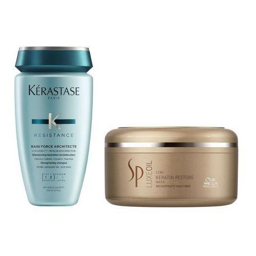 Kerastase force architecte bain and sp luxe oil keratin restore | zestaw do regeneracji włosów: kąpiel 250ml + maska 150ml