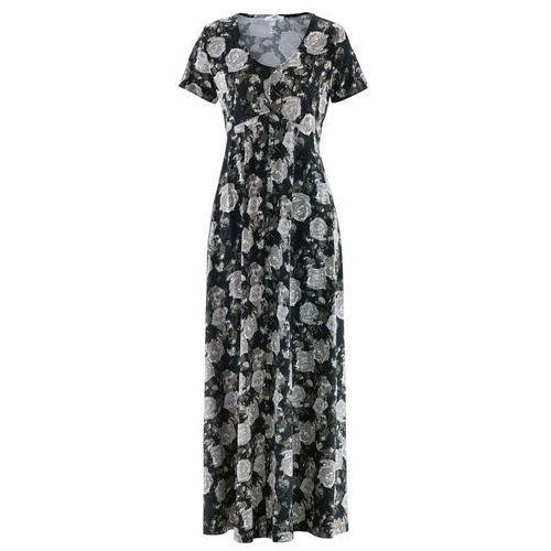 083caf3146 ... Długa sukienka z krótkim rękawem bonprix czarny w kwiaty