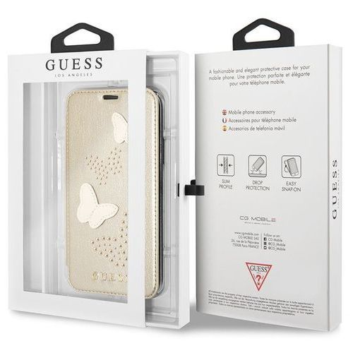 Guess Studs & Sparkles Book - Etui iPhone X z kieszeniami na karty (beżowy), kolor Guess