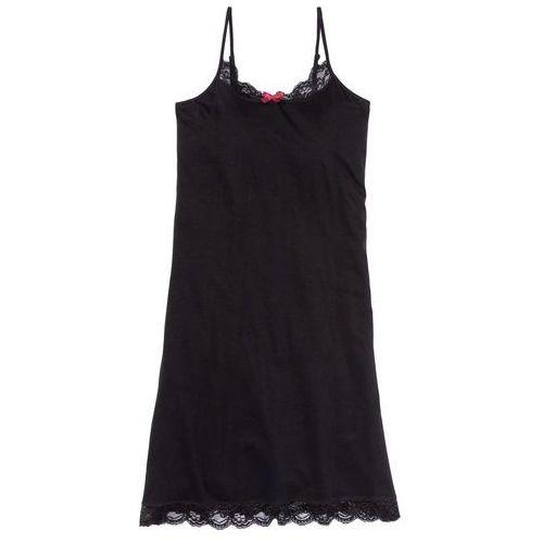 Koszula nocna na cienkich ramiączkach bonprix czarny, kolor czarny