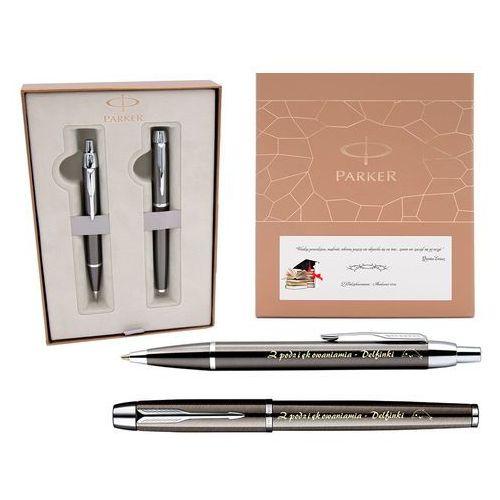 Zestaw  im gun metal ct pióro wieczne i długopis * ekskluzywne etui * grawer tabliczka dedykacja marki Parker