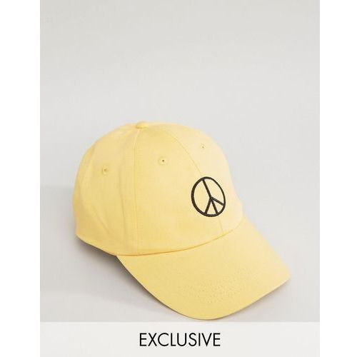 Reclaimed vintage  inspired baseball cap with peace sign embroidery - yellow