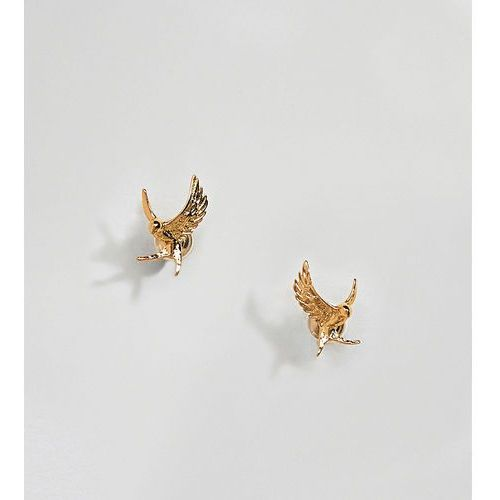 gold plated swallow stud earrings - gold marki Bill skinner