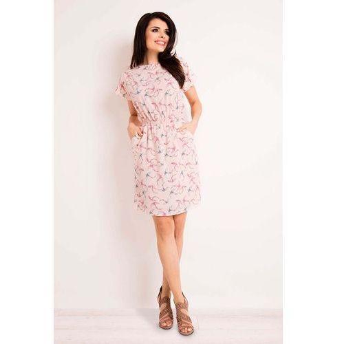 Różowa Sukienka w Pastelowe Ptaki z Gumkami w Talii, kolor różowy