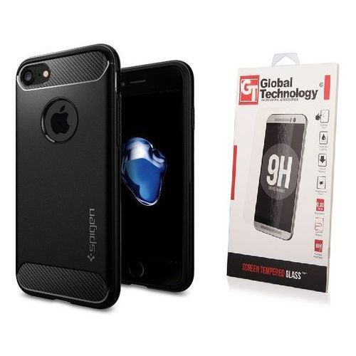 ZESTAW | ETUI SPIGEN RUGGED ARMOR BLACK + SZKŁO PERFECT GLASS - iPhone 7 / 8