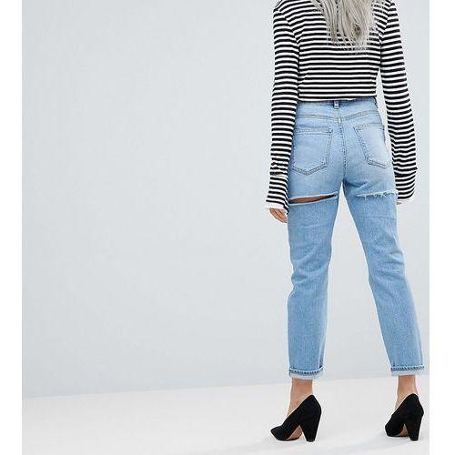 ASOS DESIGN Petite Farleigh high waist slim mom jeans in ariel light stone wash with thigh rip detail - Blue, kolor niebieski