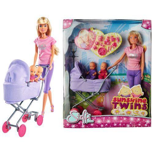 lalka steffi na spacerze z dziećmi bliźniaki w głębokim wózku 573-8060 marki Simba