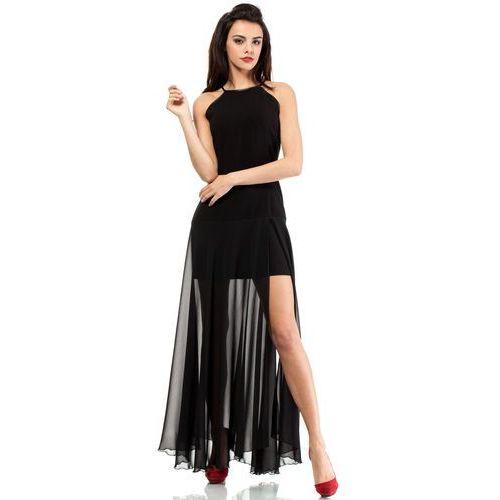 Azjatycki styl Czarna Wieczorowa Maxi Sukienka z Transparentnym Dołem, czarna