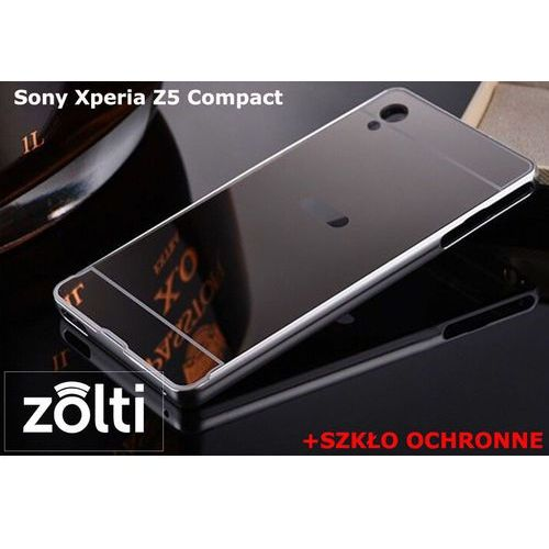 Zestaw | mirror bumper metal case srebrny + szkło ochronne perfect glass | etui dla sony xperia z5 compact, marki Mirror bumper / perfect glass