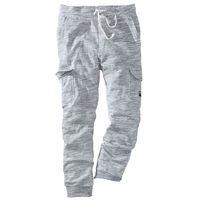 Spodnie sportowe z kieszeniami z boku nogawki szary melanż marki Bonprix