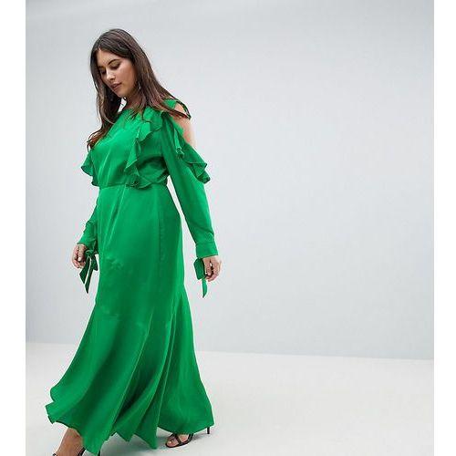 ASOS DESIGN Curve ruffle sleeve maxi dress with cold shoulder - Green, kolor zielony