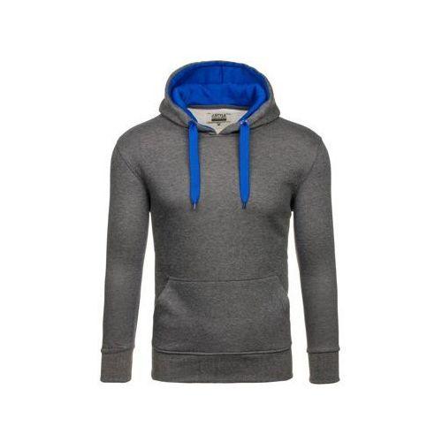 Bluza męska z kapturem antracytowo-chabrowa Denley 2075-2, kolor szary