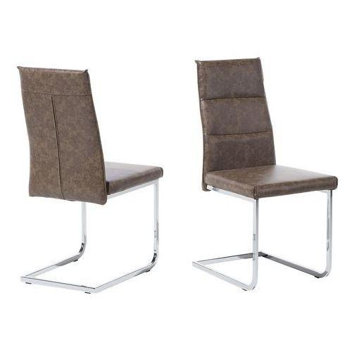 Beliani Zestaw do jadalni 2 krzesła brązowe rockford