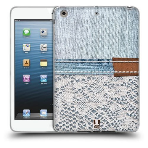 Etui silikonowe na tablet - Jeans and Laces WHITE LACE ON LIGHT DENIM, kolor biały