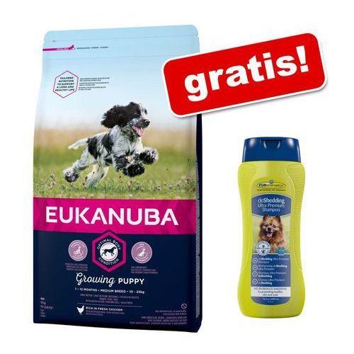 Małe opakowanie Eukanuba dla psa, 3 kg + Szampon FURminator deShedding Ultra Premium gratis! - Growing Puppy Small Breed, kurczak