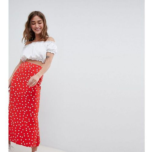 Asos design petite midi skirt with kickflare in polka dot - red marki Asos petite