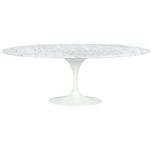 Sofa.pl Stół tulip ellipse marble biały - blat owalny marmurowy, metal