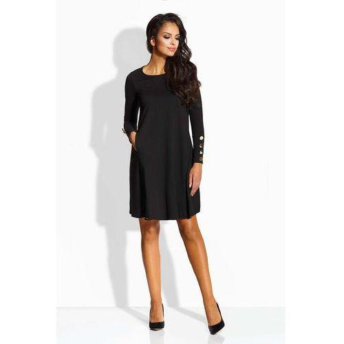 Czarna sukienka w kształcie litery a ze złotymi guzikami, Lemoniade, 36-40