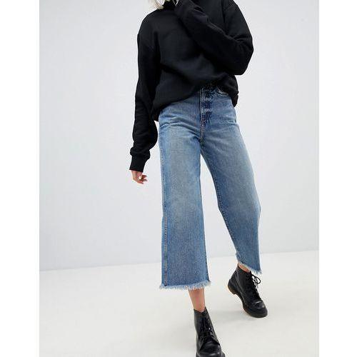 Weekday crop wide leg jeans with raw hem - blue